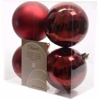 Ambiance christmas kerstboom decoratie kerstballen donkerrood 4 x