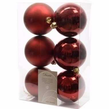 Ambiance christmas kerstboom decoratie kerstballen donkerrood 6 x