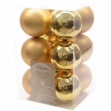 Ambiance christmas kerstboom decoratie kerstballen goud 12 x