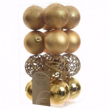 Ambiance christmas kerstboom decoratie kerstballen goud 16 x