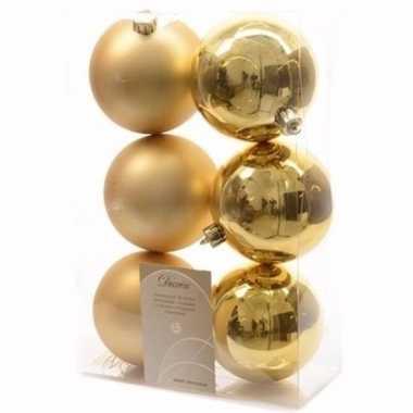 Ambiance christmas kerstboom decoratie kerstballen goud 6 x