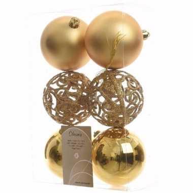 Ambiance christmas kerstboom decoratie kerstballen goud 6 x trend