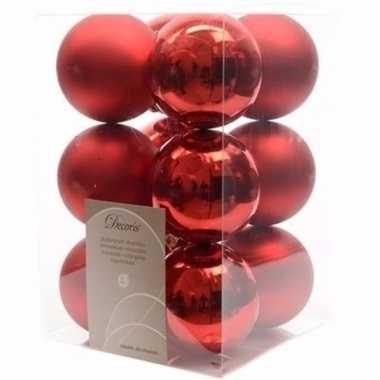 Ambiance christmas kerstboom decoratie kerstballen rood 12 x