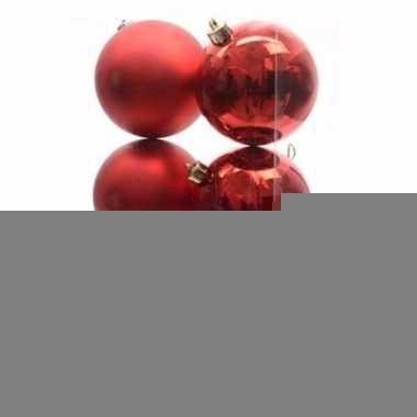Ambiance christmas kerstboom decoratie kerstballen rood 6 x