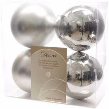Ambiance christmas kerstboom decoratie kerstballen zilver 4 x