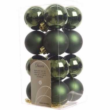 Ambiance christmas kerstboom decoratie kerstballetjes groen 16 x