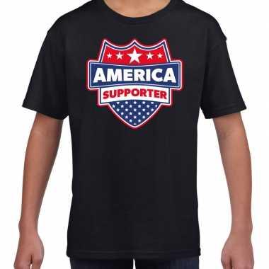 Amerika / america schild supporter t-shirt zwart voor kinderen