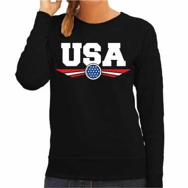 Amerika / america / usa landen sweater zwart dames