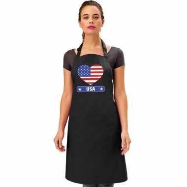 Amerika hart vlag barbecueschort/ keukenschort zwart