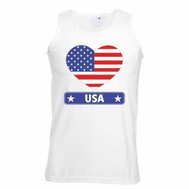 Amerika/ usa hart vlag singlet shirt/ tanktop wit heren