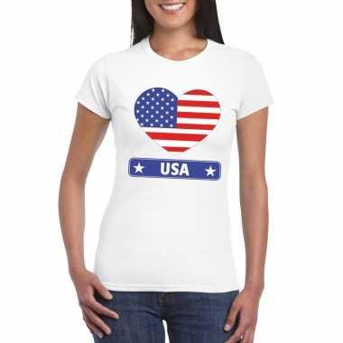 Amerika/ usa hart vlag t-shirt wit dames