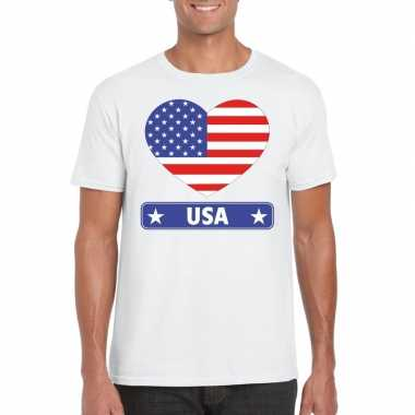 Amerika/ usa hart vlag t-shirt wit heren