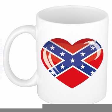Amerika zuidelijke staten vlag hartje theebeker 300 ml