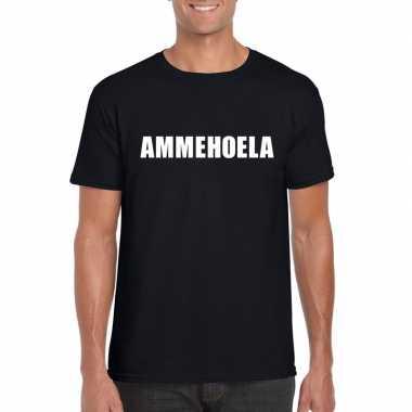 Ammehoela tekst t-shirt zwart heren