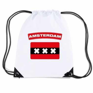 Amsterdam nylon rugzak wit met amsterdamse vlag