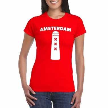 Amsterdammertje shirt rood dames