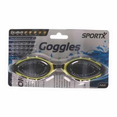 Anti chloor zwembril zwart/geel voor volwassenen