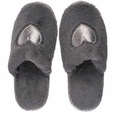 Antraciet grijze pantoffel dames slippers met hartjes