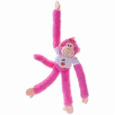 Apen knuffeldieren roze 40 cm trend