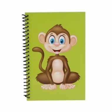 Apen notitieboekje groen 18cm trend