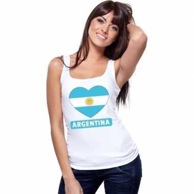 Argentinie hart vlag singlet shirt/ tanktop wit dames