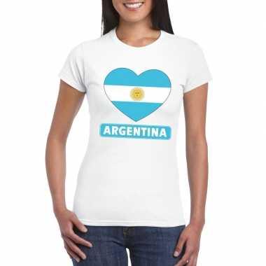 Argentinie hart vlag t-shirt wit dames