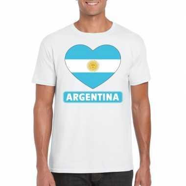 Argentinie hart vlag t-shirt wit heren