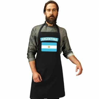 Argentinie vlag barbecueschort/ keukenschort zwart volwassenen