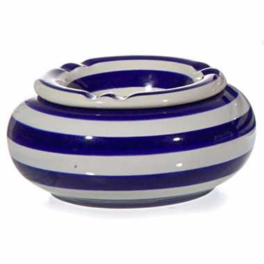 Asbak blauw/wit gestreept 10 cm