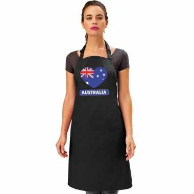 Australie hart vlag barbecueschort/ keukenschort zwart