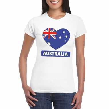 Australie hart vlag t-shirt wit dames