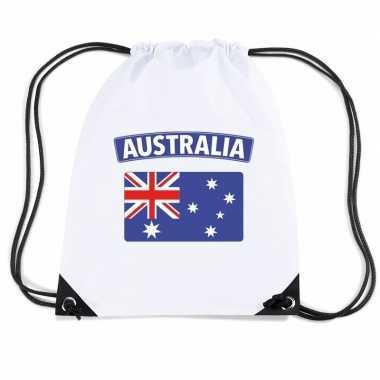 Australie nylon rugzak wit met australische vlag