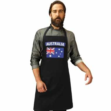 Australie vlag barbecueschort/ keukenschort zwart volwassenen