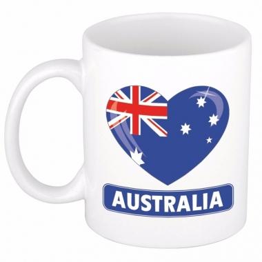 Australische vlag hartje theebeker 300 ml