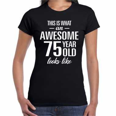 Awesome 75 year / 75 jaar cadeau t-shirt zwart dames