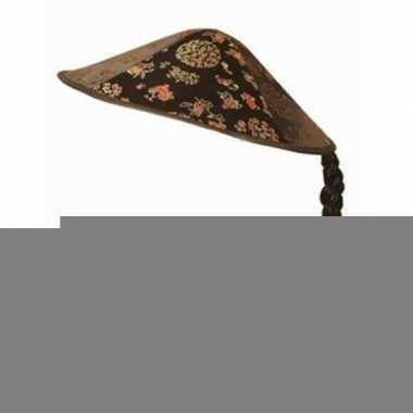 Aziatische hoed met vlecht