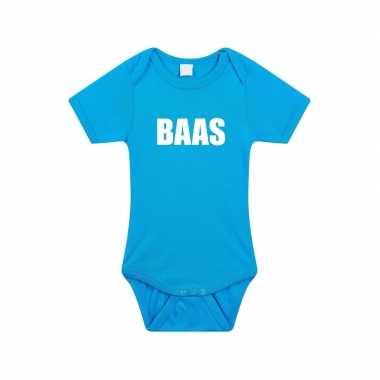 Baas tekst rompertje blauw baby