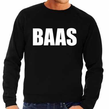 Baas tekst sweater / trui zwart voor heren