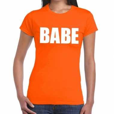 Babe tekst t-shirt oranje dames