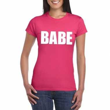 Babe tekst t-shirt roze dames