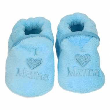 Baby pantoffels/slofjes love mama blauw