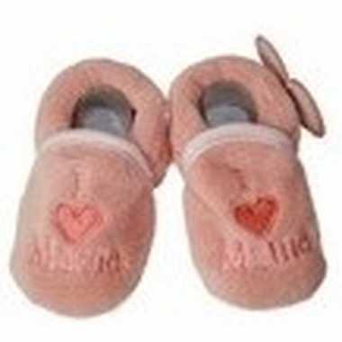 Baby pantoffels/slofjes love mama zalmroze