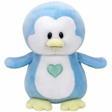 Babyshower jongetje knuffel ty baby blauw pinguin twinkles 24 cm