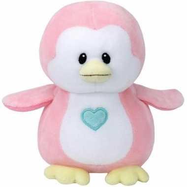 Babyshower meisje knuffeldier ty baby roze pinguin penny 24 cm