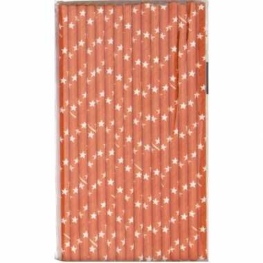 Babyshower oranje rietjes met ster van papier
