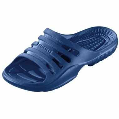 Bad/sauna slippers met voetbed navy blauw heren