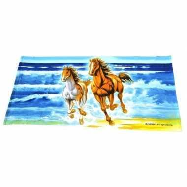 Badlaken/strandlaken paard met veulen 150 x 70 cm