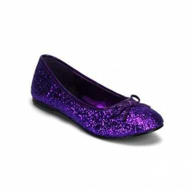 Balerina schoenen kleur paars met glitters