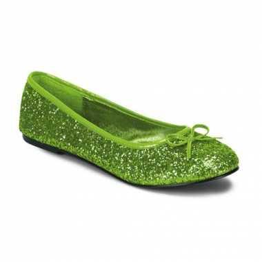 Ballerina flatjes met lime groene glitters