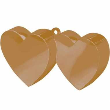 Ballon gewichtjes 2 gouden harten